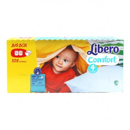 """ليبرو – حفاضات أطفال """"كومفورت"""" المرحلة 4 (7 - 11 كجم) - 2 عبوة × 54 حبة – عرض خاص"""