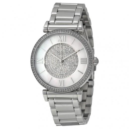 مايكل كورس - كاتلين ساعة الكريستال ذات اللون الفضي للسيدات - يتم التوصيل بواسطة My Fair Lady