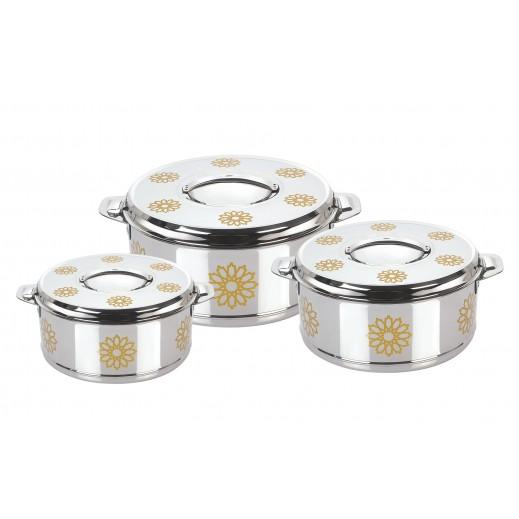 ميلانو – طقم  كسارول ستانليس ستيل لحفظ درجة حرارة الطعام ذهبي 3 حبة