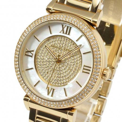 مايكل كورس - كاتلين ساعة اللؤلؤ الدائرية ذات اللون الذهبي المطلي للسيدات - يتم التوصيل بواسطة My Fair Lady