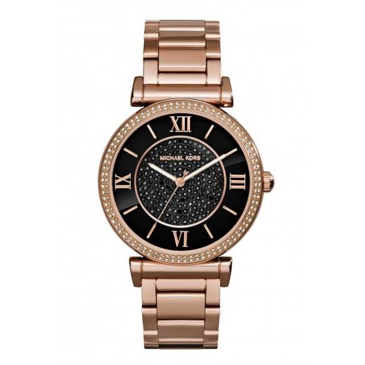 مايكل كورس - ساعة كاتلين كريستال أسود ذات اللون الذهبي الوردي للسيدات - يتم التوصيل بواسطة My Fair Lady