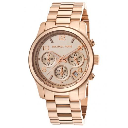مايكل كورس - رن واي ساعة  ذهبية مع أداة قياس الوقت الكرونوغراف للسيدات - يتم التوصيل بواسطة My Fair Lady