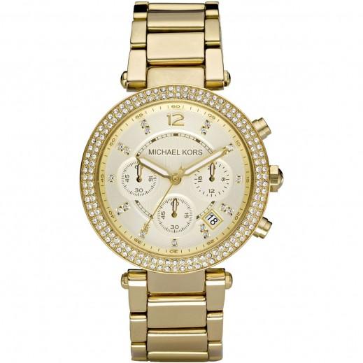 مايكل كورس - باركر ساعة بلون الشامبانيا الذهب مع أداة قياس الوقت الكرونوغراف للسيدات - يتم التوصيل بواسطة My Fair Lady