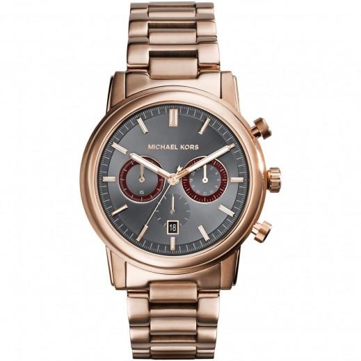 مايكل كورس - Pennat  ساعة باللون الذهبي الوردي مع أداة قياس الوقت الكرونوغراف باللون الفضي للرجال - يتم التوصيل بواسطة My Fair Lady