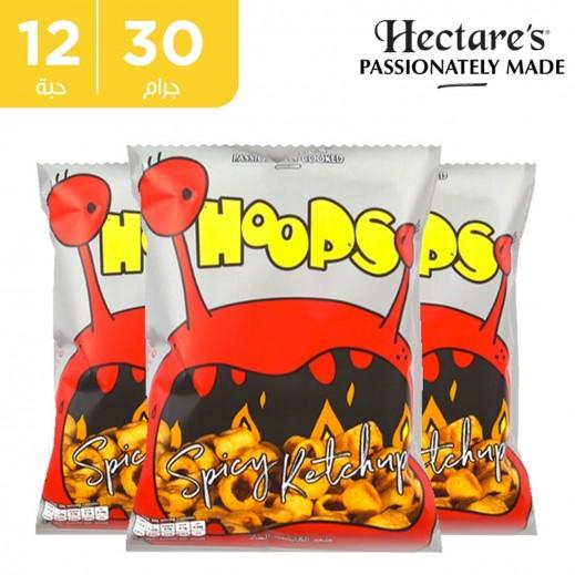 اشتر هيكترز رقائق بطاطس هوبس سبايسي خالية من الغلوتين بطعم الكاتشب 12 × 30 جم + 1 كرتون نكهة مجانا