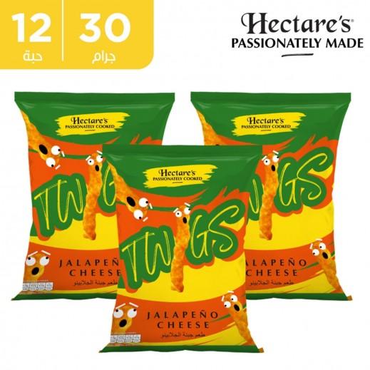 اشتر هيكترز سناك الذرة تويجز خالية من الغلوتين بطعم الجبنة الجالبينو 12 × 30 جم + 1 كرتون نكهة مجانا