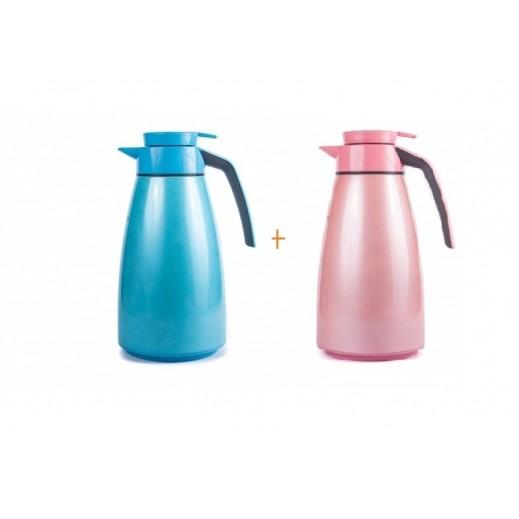 مطارة شاى وقهوة سعة 1.9 لتر وردي + مطارة 1.9 أزرق (مجانا)
