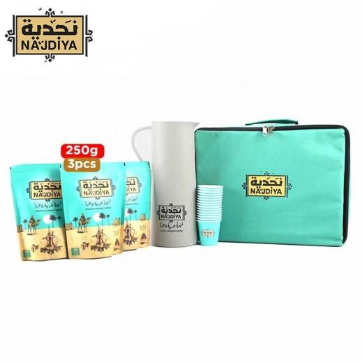 نجدية قهوة عربية فاخرة بالهيل والزعفران 3 × 250 جم + أكواب + مطارة + كيس - يتم التوصيل بواسطة سان رامون خلال 3 أيام عمل