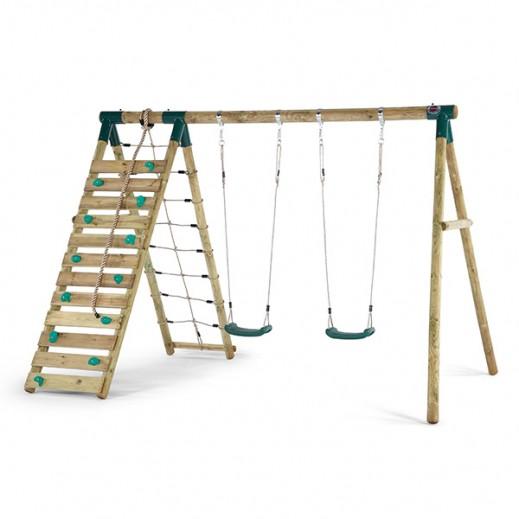 بلوم – مجموعة أرجوحة واكاري الخشبية مع إطار تسلق - يتم التوصيل بواسطة يونيفيرسال تويز خلال 2 أيام عمل
