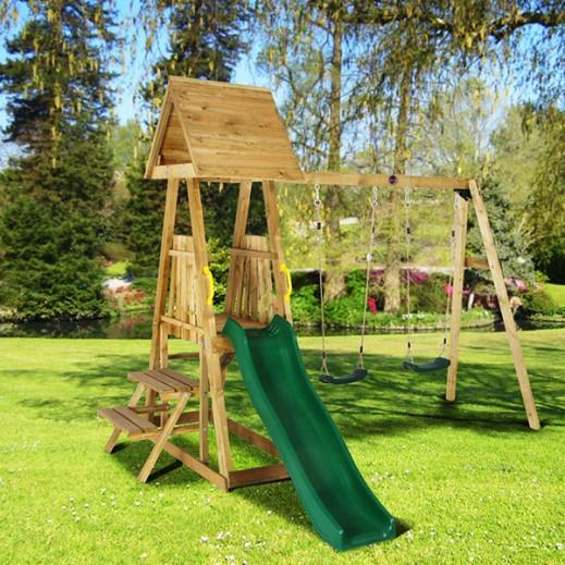 """بلوم – لعبة أرجوحة  """"إندري"""" الخشبية مع زحلاقية - يتم التوصيل بواسطة Universal Toys"""