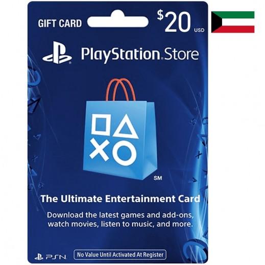 بطاقة شبكة بلاى ستيشن بقيمة 20 دولار للحسابات الكويتية - (استلام عبر الإيميل)