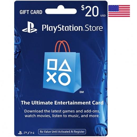 بطاقة شبكة بلاى ستيشن بقيمة 20 دولار للحسابات الأمريكية - (استلام عبر الإيميل)