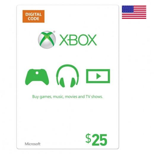 بطاقة XBox للحسابات الأمريكية بقيمة 25 دولار (إستلام عبر الإيميل)
