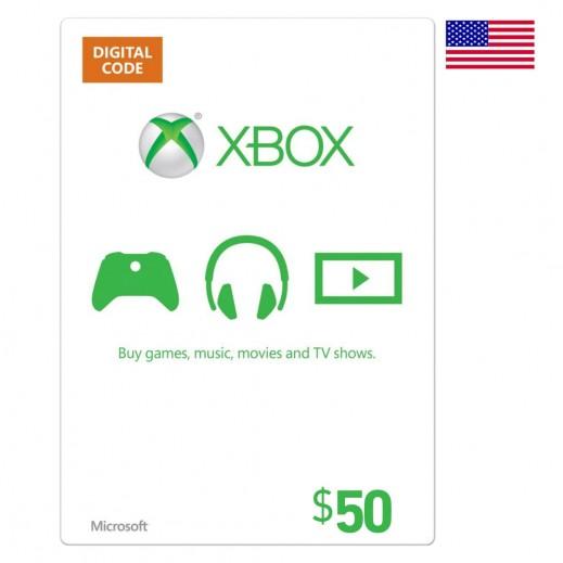 بطاقة XBox للحسابات الأمريكية بقيمة 50 دولار (إستلام عبر الإيميل)
