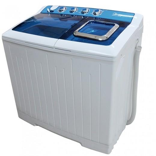 ميديا – غسالة ملابس حوضين 8 كجم – أبيض وأزرق - يتم التوصيل بواسطة EASA HUSSAIN AL YOUSIFI & SONS COMPANY