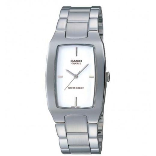 كاسيو - ساعة يد انتيسر عقارب للرجال بسوار استانلس وإطار أبيض  - يتم التوصيل بواسطة Veerup General Trading