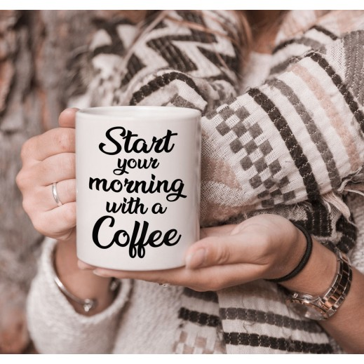 كوب تصميم قهوة الصباح مع قاعدة - يتم التوصيل بواسطة Berwaz.com