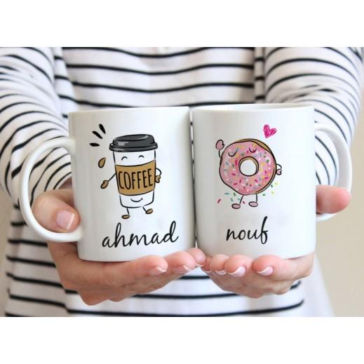 كوب ثنائي تصميم دونت و قهوة مع قاعدة - يتم التوصيل بواسطة Berwaz.com