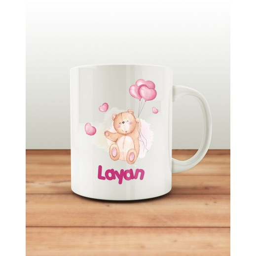 كوب تصميم الدب الوردي مع قاعدة - يتم التوصيل بواسطة Berwaz.com