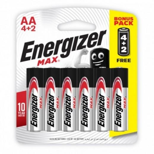 إنرجايزر – بطارية الكالين AA حجم 1.5 فولت – عبوة 4 + 2 مجانا