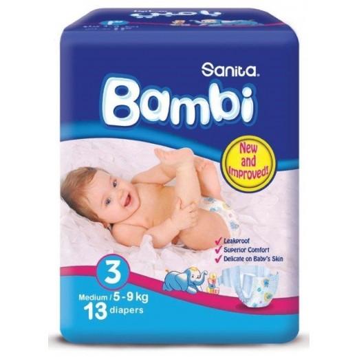سانيتا – بامبي حفاضات أطفال مقاس (3) حجم وسط (5-9 كجم) – 13 حفاض