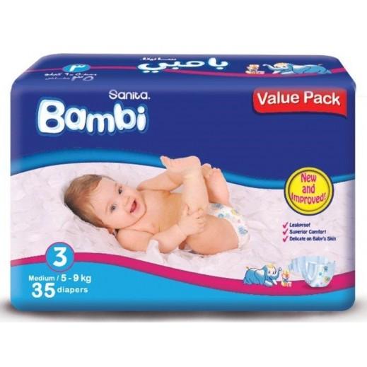 سانيتا – بامبي حفاضات أطفال مقاس (3) حجم وسط (5-9 كجم) - العبوة الاقتصادية – 35 حفاض