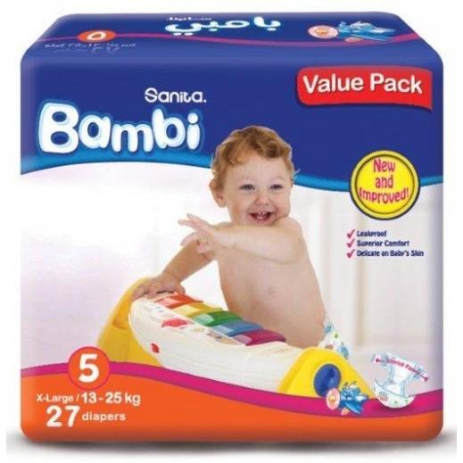 سانيتا – بامبي حفاضات أطفال مقاس (5) حجم كبير (13-25 كجم) - العبوة الإقتصادية – 27 حفاض