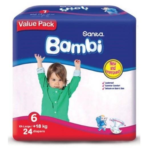 سانيتا – بامبي حفاضات أطفال مقاس (6) كبير جداً (18+ كجم) - العبوة الإقتصادية – 24 حفاض