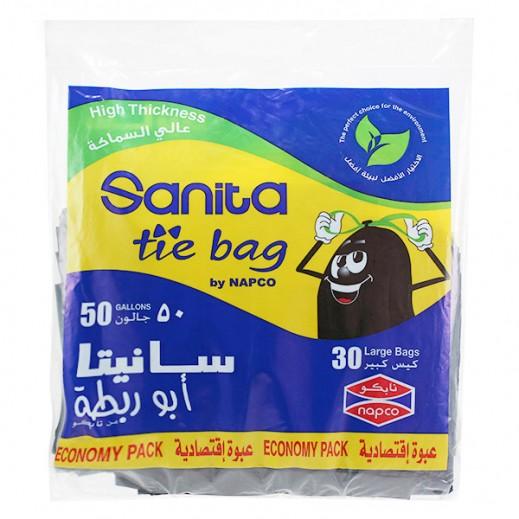 سانيتا – أكياس نفاية أبو رابطة كبيرة الحجم 50 جالون ( 30 حبة)