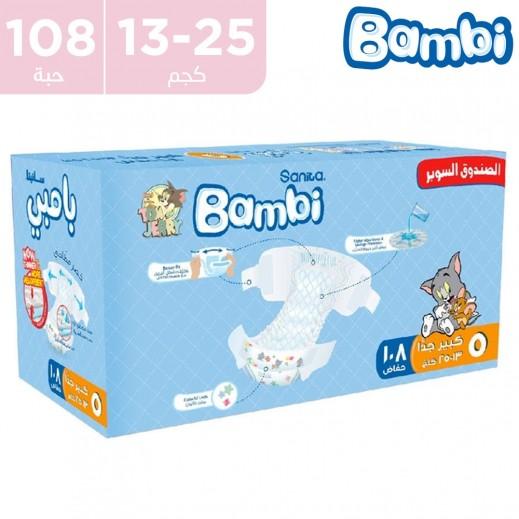 سانيتا – بامبي حفاضات أطفال مقاس 5 كبير جداً (13 - 25 كجم) 108 حفاضة