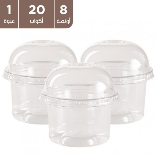 أكواب بلاستيكية دائرية بغطاء شفاف 8 أونصة - 20 كوب
