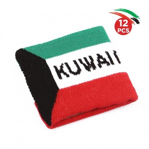 مجموعة ربطة يد بتصميم علم الكويت - 12 حبة