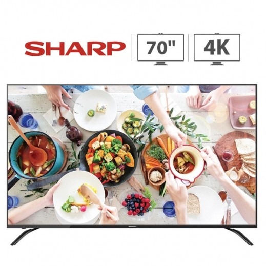 شارب – تليفزيون ذكى شاشة 70 بوصة 4K LED - اسود - يتم التوصيل بواسطة  AL-YOUSIFI  بعد 3 ايام عمل