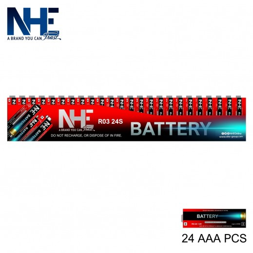 NHE - بطاريات AAA R03 عبوة (24 حبة)