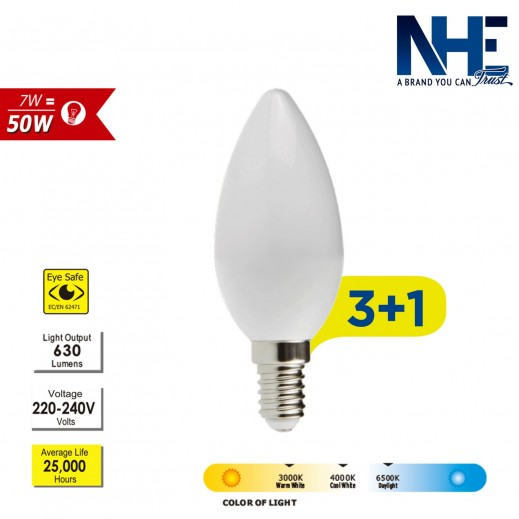 NHE – لمبة 7 واط LED - ابيض -عرض 3 + 1 مجاناً