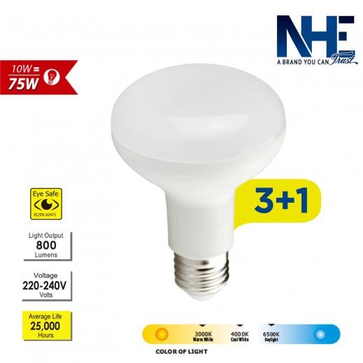 NHE – لمبة 10 واط LED - ابيض -عرض 3 + 1 مجاناً