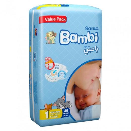 سانيتا – بامبي حفاضات أطفال مقاس (1) لحديثي الولادة (2-4 كجم) 48 حبة
