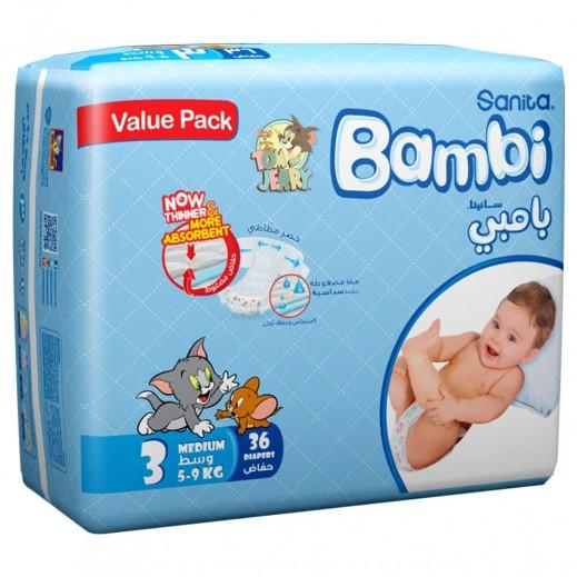 سانيتا – بامبي حفاضات أطفال مقاس (3) حجم وسط (5-9 كجم) 36 حبة