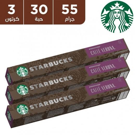 ستاربكس – قهوة كافي نسبرسو فيرونا دارك روست 10 كبسولة (3 عبوة)