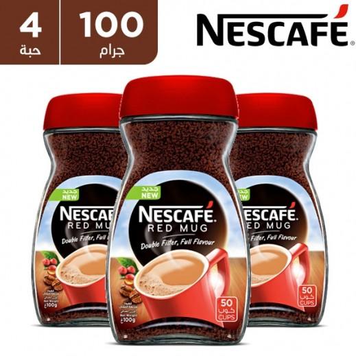 """نسكافيه – قهوة سريعة التحضير """" ريد مج """" 4 × 100 جم"""