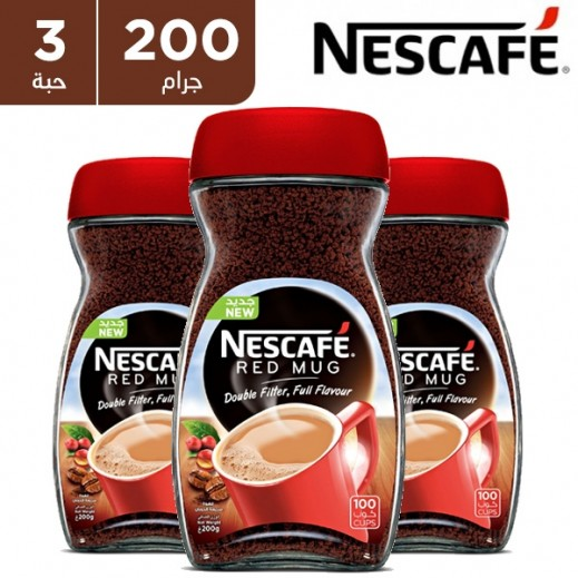 """نسكافيه – قهوة سريعة التحضير """" ريد مج """" 3 × 200 جم"""