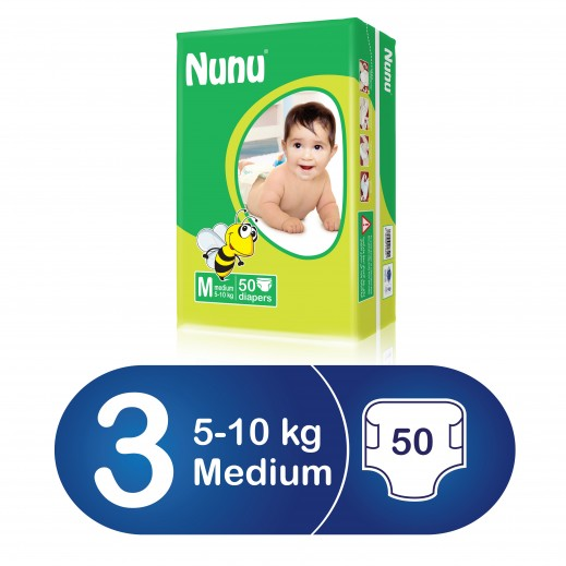 نونو – حفاضات أطفال حجم وسط (5 – 10 كجم) 50 حبة