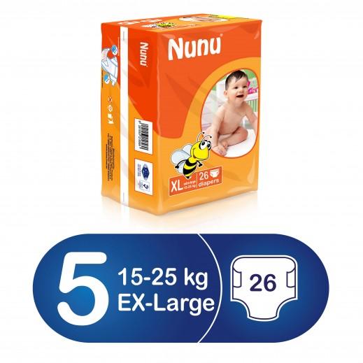 نونو – حفاضات أطفال حجم كبير جداً (15 – 25 كجم) 26 حبة