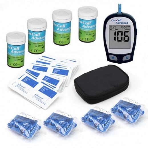 أون كول أدفانسيد – جهاز فحص السكر في الدم + 100 شريط فحص + 100 إبرة + ضمادات كحول