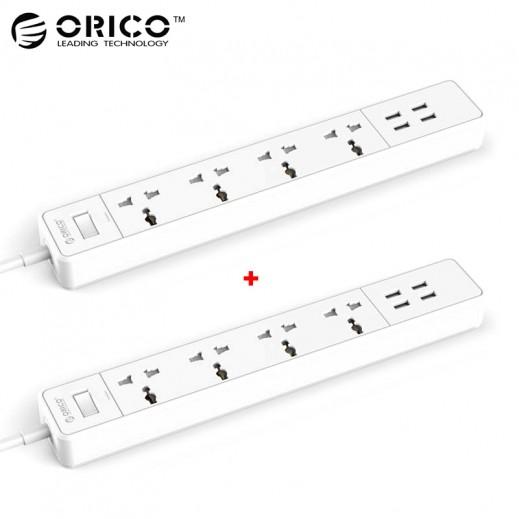 اوريكو – محول كهربائي 4 منافذ USB و 4 منافذ شحن – ابيض( 2 حبة)