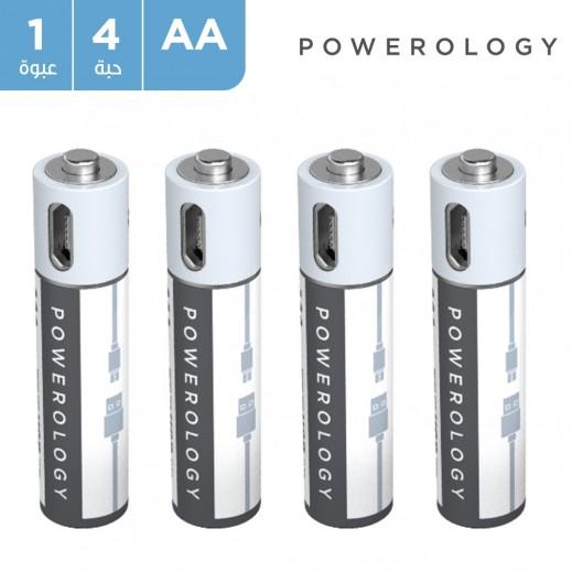 باورولوجي - بطارية AA قابلة للشحن عن طريق USB (٤ قطع)