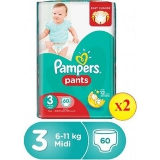 بامبرز - حفاضات بانتس بنطال للأطفال مرحلة 3 (6 - 11 كجم) عبوة جامبو 2×60 حفاضة (20% خصم)