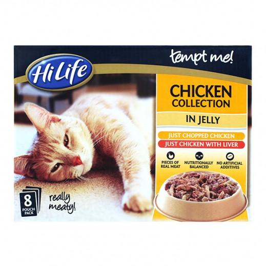 """هاي لايف – تشكيلة طعام القطط البالغة """"تيمبت مي"""" مع الدجاج مخلوط بالجيلي (8 × 85 جرام)"""