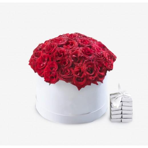 صندوق زهور حمراء 40 حبة - يتم التوصيل بواسطة Covent Palace