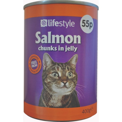 لايف ستايل – طعام القطط البالغة بالسلمون 55 بروتين 400 جم